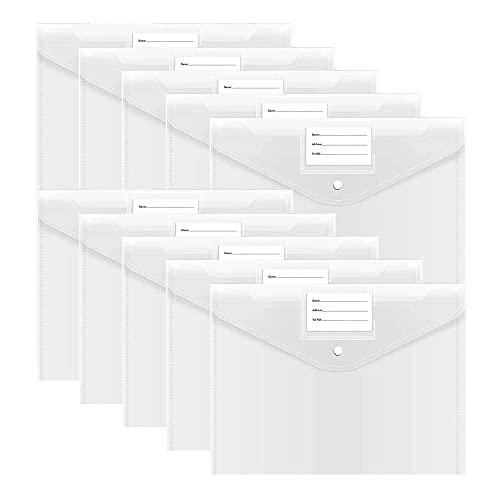 A4 Trasparente Cartelle Portadocumenti, 10 Pezzi Cartelle File in Plastica con Tasca per Etichette e Bottone per Ufficio e Scuola (Colori Trasparente)