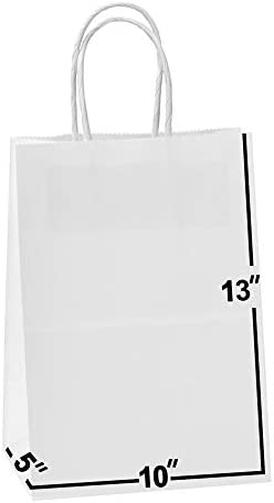 50 Bags 10 X 5 X 13 White Kraft Paper Gift Bags Bulk with Handles Ideal for Shopping Packaging product image