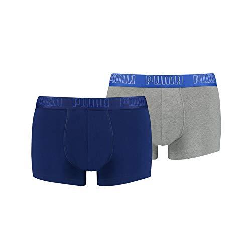 PUMA Basic Trunks Costume a Pantaloncino, Blu/Grigio Melange, M (Pacco da 2) Uomo