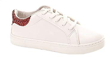 حذاء رياضي جلد صناعي برباط والجزء الخلفي مزين بترتر مختلف اللون للنساء من اندورا