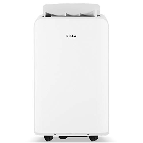 DELLA 8,000 BTU Portable Electric Air Conditioner Fan Dehumidifier w/Remote Control for Rooms Up To 450 Sq Ft, 80 Pint Per 24Hr, Self Evaporation, LCD, Window Kit, Wheels