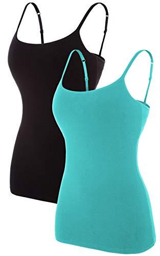 V FOR CITY Shelf Bra Camisoles for Women Undershirts with Built in Bra Tank Tops Cami Black/Aqua XL