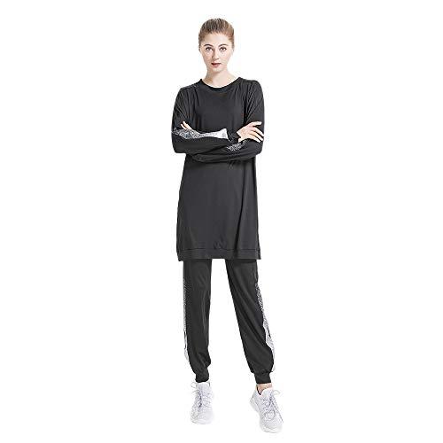 Grsafety Musulmane Tuta Sportiva Donna Due Pezzi - Jogging Yoga Manica Lunga Pullover Felpa Top e Pantaloni Autunno Inverno, Nero, M