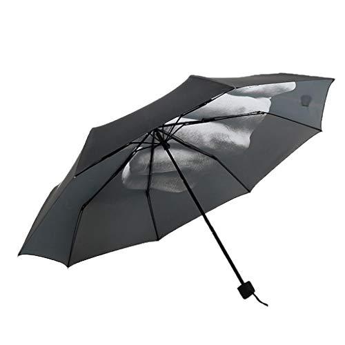 Drie voudige paraplu middelvinger paraplu roman paraplu regen vouwende paraplu zon regen dag creatieve geschenk verjaardag - zwart