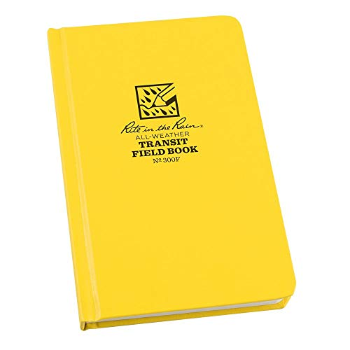 """Rite In The Rain Weatherproof Hard Cover Notebook, 4.75"""" x 7.5"""", Yellow Cover, Transit Pattern (No. 300F)"""