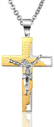 KnBob Pendant Necklace Gold Cross Jesus Crucifix Lord Prayer 54X37MM Necklace Stainless Steel for Women and Men