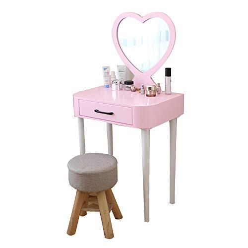 GCZ Juego de tocador con 1 cajón, Espejo en Forma de corazón, Escritorio de Maquillaje, Muebles nórdicos, Rosa