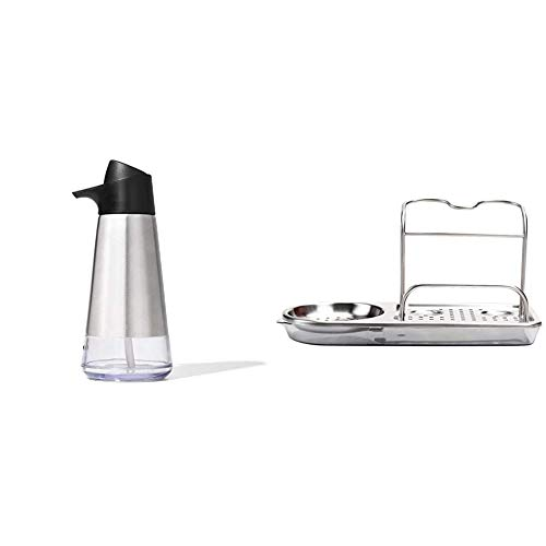 OXO Good Grips Stainless Steel Easy Press Dispenser & Good Grips Stainless Steel Sink Caddy