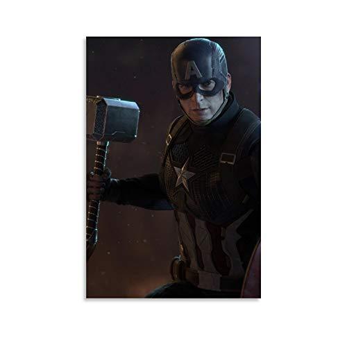 NUOMANAN Moderno mural de Capitán América película Superhéroe 20 x 30 cm, arte para colgar en la pared de la sala de estar sin marco/enmarcar