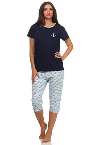Damen Pyjama mit Caprihose Kurzarm Schlafanzug im maritimen Look und mit Ankermotiv 64242, Farbe:Navy, Größe2:40/42