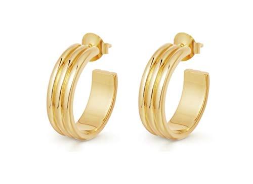 15mm Small Hoop Earrings for Women Gold Plated Brass Open Hugger Tiny Wide Huggie Rectangle Stud Earrings Gold