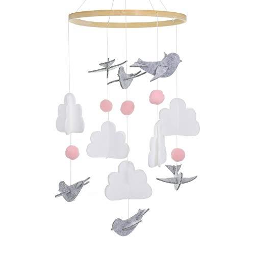 Mobile Baby Windspiel Mädchen,Mobile für Babybett,Bettglocke Windspiel,Home Filz Mobile Krippe (Taube)