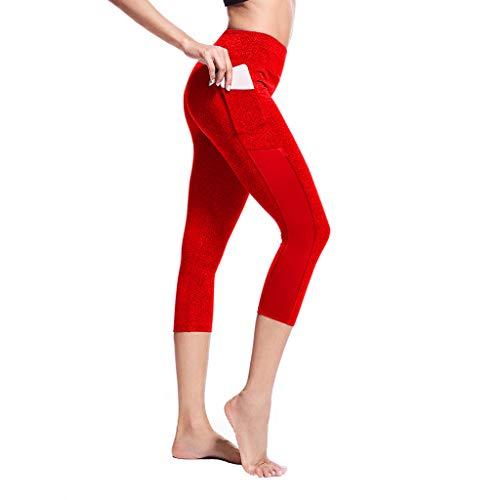 MORCHAN Femmes Stretch Taille Haute Couture Pocket Yoga Legging Fitness Course Pantalons Gym Piste(Rouge/Large)