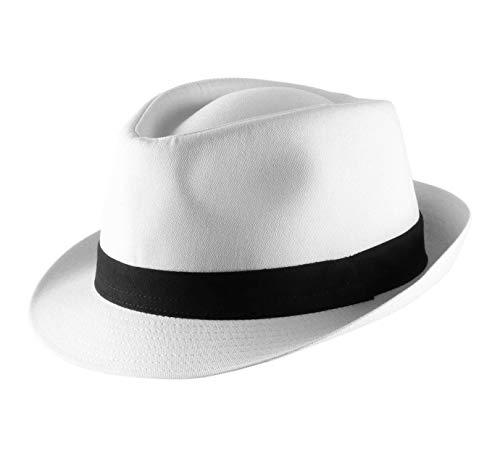 Classic Italy - Chapeau Trilby - 8 Coloris - Homme ou Femme Classic Trilby - Taille 58 cm - Blanc-Noir