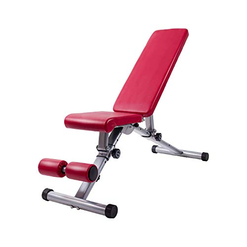 Adjustable Weight Bench Utility Exercise Workout Bench Flat/Incline/Decline Bench Press for Home Gym Red