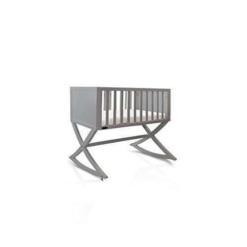 Green Frog, Allegro Cradle | Handcrafted Contemporary Wood Baby Cradle | Premium Pine Construction | Rocking and Stationary | Modern Grey Color