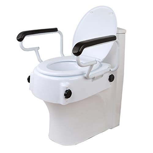 YC Erhöhter Toilettensitz mit Deckel, mit stabilen Halterungen 3 Höhenverstellbarer PU-Lederhandlauf für ältere Menschen, Behinderte, eingeschränkte Mobilität
