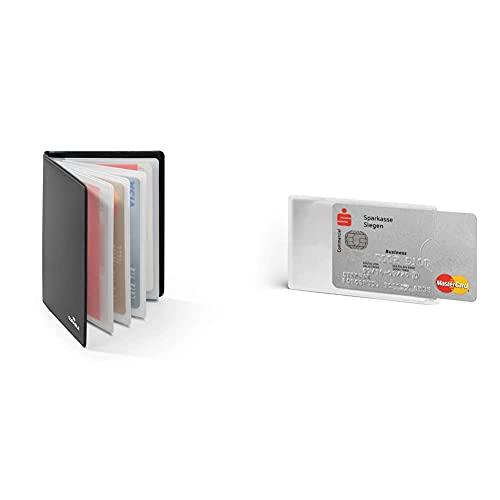 Durable 230958 Porte-Cartes Protection antiRFID en Plastique Souple pour 8 Cartes Format CB Noir & 890319 Lot de 3 Étui Souple de Protection Argent