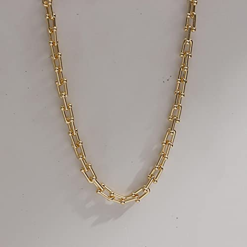 ZXCM Francés Vintage Irregular Perla de Agua Dulce Chapado en Oro Collares de Cadena de Enlaces para Mujer Collar de Perlas para Mujer