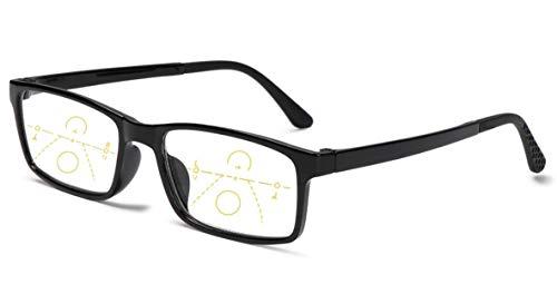 Gleitsichtbrille Lesebrille schwarz Multifokale Gläser mit 1.00 Dioptrien Damen Herren Dioptrien mit Anti-Blaulicht eckig (+1.00 Dioptrien)