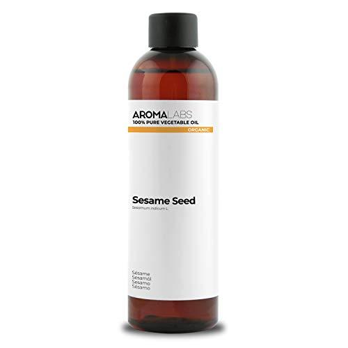 BIO - Aceite vegetale de Sésamo - 250ml - garantizado 100% puro, natural y prensado en frío - Orgánico certificado por Ecocert - Aroma Labs