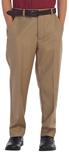 Gioberti Boys Flat Front Dress Pants, Khaki, 12