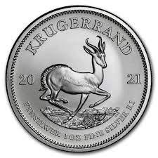 1 Unze oz Silber Krügerrand 2021 einzeln in Münzkapseln verpackt