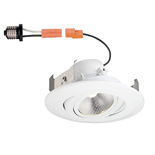Commercial Electric 4 in. White Integrated LED Recessed Gimbal Trim Pivot Rotate