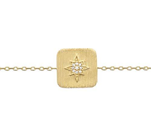 Tata Gisèle - Pulsera chapada en oro de 18 quilates, colgante cuadrado estriado con estrella engastada de óxido de circonio, bolsita de terciopelo de regalo