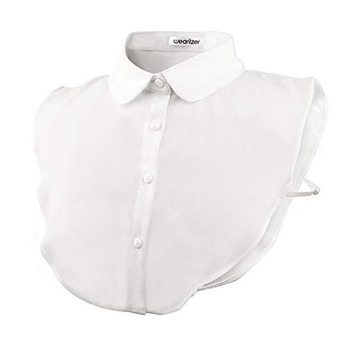 Wearlizer Frauen Kragen Abnehmbare Hälfte Shirt Bluse mit Strass Weiß (Chiffon Runde)