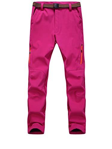 Drying Den Hommes Femmes Camping en Plein Air Randonnée Pantalon en Molleton Thermique Imperméable Coupe-Vent Pantalon De Pêche Pantalon Hommes Women Rose XXL