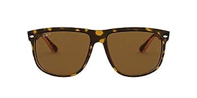 Ray-Ban RB4147 Boyfriend Square Sunglasses, Light Havana/Polarized Crystal Brown, 60 mm