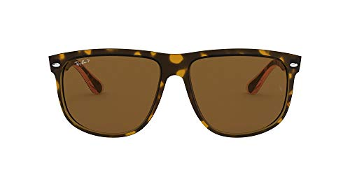 Ray-Ban RB4147 Boyfriend Square Sunglasses, Light Tortoise/Polarized Brown, 60 mm