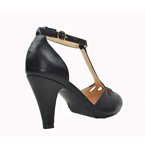 Chase & Chloe Kimmy-36 Women's Teardrop Cut Out T-Strap Mid Heel Dress Pumps (8.5, Black PU)