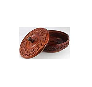 AzureGreen RB339 Wooden Ritual Bowl With Lid