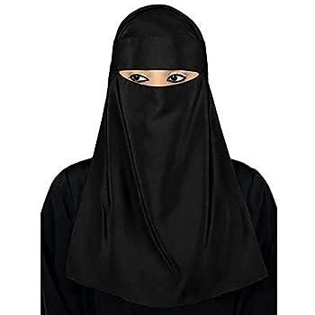 BYyushop Scarf Shawl Ve il,Arab Muslim Women Turban Hijab Niqab Ve il Islamic Face Cover Black