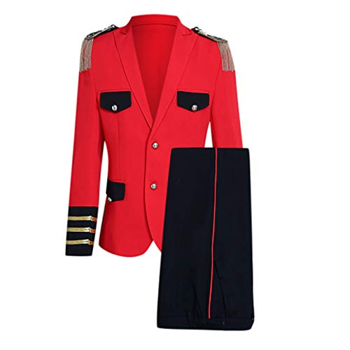 Sannysis Parade Kostüm Herren 2-Teilig Anzüge Blazer und Anzughose Royal Prince Gothic Gehrock Offizier Uniform Viktorianischen Suits Mittelalter Party Karneval Punk Mantel (L, Rot)