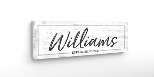 """Pretty Perfect Studio Personalized Last Name Sign, Custom Family Est Date Canvas Wall Art 
