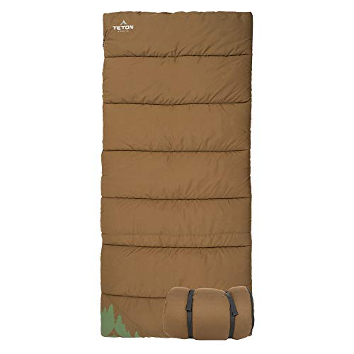 TETON Sports 1348 Evergreen Canvas Sleeping Bag; Warm and Comfortable Sleeping Bag for Camping or Hunting; Mild Weather Sleeping Bag Perfect for a Family Campout in the Backyard or the Great Outdoors