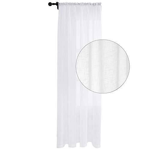 WOLTU VH5912ws, Gardine transparent mit Kräuselband Boucle Dekoschal Leinen-Optik Stores Fensterschal Vorhang für Wohnzimmer Schlafzimmer Landhaus 140x225 cm Weiß, (1 Stück)