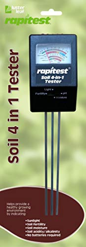 Luster Leaf 1818 Rapitest 4-in1 Soil pH/Moisture/Fertility/Light Tester, Fertility