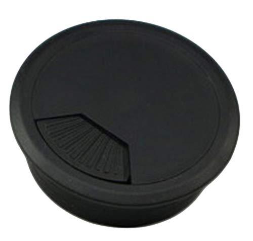 Insun 10 Unids Tapa Pasacables para Mesas de Computadora Escritorios, Tapa Organizador de Cable de Plástico, Cubierta de Cable Redondos Negro Ø 35mm