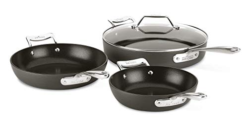 powerful All-Clad Essential Non-Stick Frying Pan Set, 4 Parts, Gray