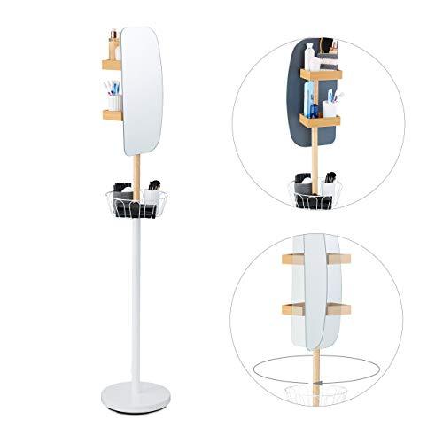 Relaxdays staande spiegel, met mand & 2 planken, 360 ° draaibaar, staande spiegel voor de badkamer, h x d: 182 x 33 cm, wit/natuur, 1 stuk