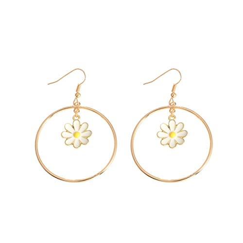 Monllack Pendientes geométricos Pendientes Redondos de Flores Pendientes Individuales versátiles Adornos Pendiente de Moda Regalos Femeninos (Oro)