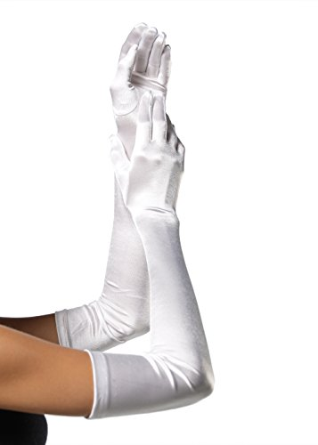Leg Avenue Women's OS Extra Long Satin Gloves, White, One Size