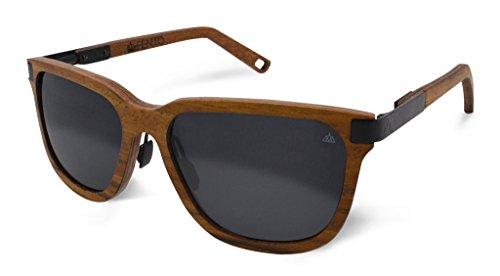Fento | Specta - Handgefertigte Sonnenbrille aus Holz | Design Holz-Sonnenbrille für Damen und Herren | Federscharniere aus Edelstahl | inkl. Brillenetui | Retro | Unisex (Teak - Schwarz - Grau)