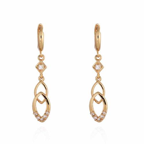 Yazilind Encanto 14K Hollow Design Gold Filled Inlay clara redonda pendientes de gota del cuelgan cubic Circonita para la Mujer