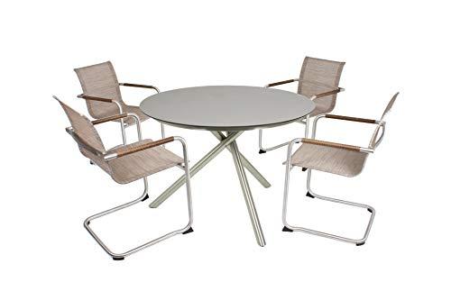 Garden Pleasure Gartenstühle Tischgruppe 5-teilig, 4 x Freischwinger NOVA 1 x Tisch, Sandbraun
