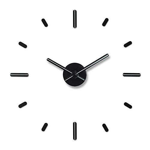PresenTime & Co 3D Large Frameless DIY Wall Clock Stickers for Modern Office/Home Decoration, Night Glow Style, 2nd Gen, 12 pcs Hour Markers